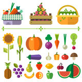 Basket with fruits and vegetables. Farm. Elements and sprites. Vector flat  illustrations Royalty Free Stock Image
