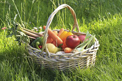 Basket of fruits and vegetables Stock Photo