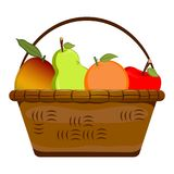 Basket with fruits. On a white background, Vector illustration stock illustration