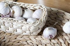 Basket ful of garlic Royalty Free Stock Photo