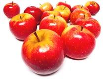 Basket full of apples. On white back- or underground stock image