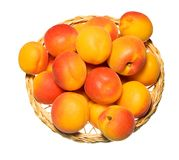 Basket full of apricots isolated on white Royalty Free Stock Photography