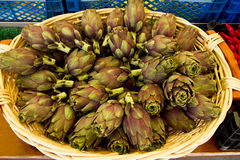 Basket full of artichokes. In a street market in Munich Stock Photography