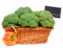 Basket full of broccoli. Royalty Free Stock Photography