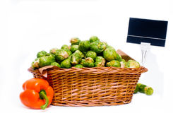 Basket full of brussels sprouts Stock Photo