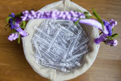 Basket full of bubble tubes for for wedding stock image