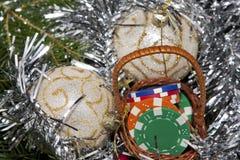 Basket full of chips, gift for Christmas Stock Image