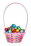 Basket full of  Chocolate Easter Eggs. A Colorful Basket full of Chocolate Easter Eggs Stock Photography
