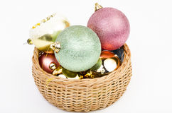 Basket full of Christmas balls Stock Images