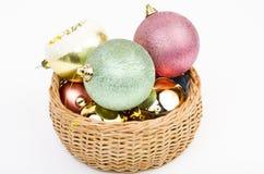 Basket full of Christmas balls Stock Images