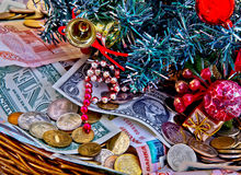 Basket full of Christmas donations. Money from gifts in a basket for new year and Christmas Royalty Free Stock Image