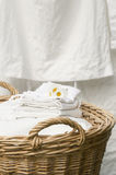 Basket full of clean freshly washed grandmother's linens. Outdoor, laundry hanging background Stock Photography