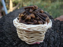 Basket of full of cloves Stock Photos