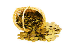 Basket full of coins isolated Royalty Free Stock Photo