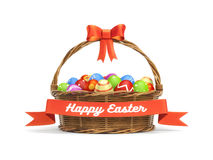Basket full of colored Easter eggs with banner. 3d illustration Stock Photo