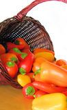 Basket Full of Colorful Peppers Spilling Out onto a Table. Bright colorful peppers spilling out of a brown wicker basket stock photography