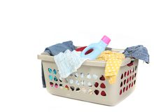Basket Full of Dirty Laundry With Detergent Stock Photography
