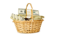 Basket full of dollars isolated Royalty Free Stock Image