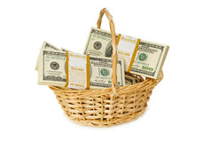 Basket full of dollars isolated Royalty Free Stock Photo