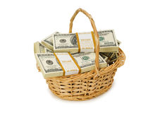 Basket full of dollars isolated Stock Images