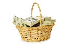 Basket full of dollars isolated Royalty Free Stock Image