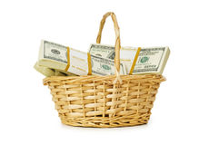 Basket full of dollars isolated Stock Image