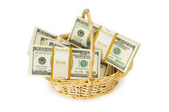 Basket full of dollars isolated Stock Photo
