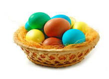 Basket full of Easter egg Stock Photo