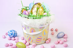 Basket full of Easter Eggs Royalty Free Stock Images