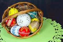 Basket full of Easter eggs for the Easter celebration happy. Stunning beautiful carved and painted Easter eggs of different colors. Christian tradition during Royalty Free Stock Image