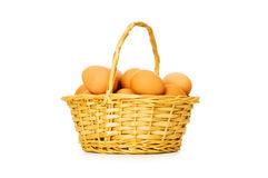 Basket full of eggs Royalty Free Stock Images