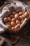 Basket full of eggs Stock Photos