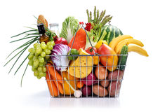 Basket with full foods Royalty Free Stock Photography