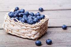 Basket full of fresh blueberries Stock Photography