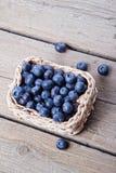 Basket full of fresh blueberries Stock Photos