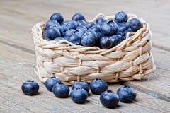 Basket full of fresh blueberries Stock Photo