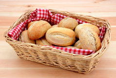Basket full of fresh bread rolls Royalty Free Stock Image