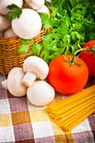 Basket full of fresh champignon mushrooms Royalty Free Stock Images
