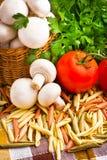 Basket full of fresh champignon mushrooms Stock Photo