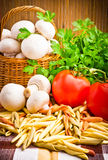Basket full of fresh champignon mushrooms Stock Images
