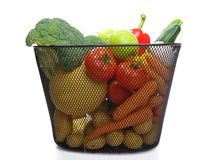 Basket full of fresh colorful vegetables stock photos