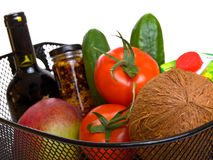 Basket full of fresh colorful vegetables Royalty Free Stock Photography