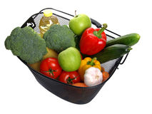 Basket full of fresh colorful vegetables. Royalty Free Stock Images