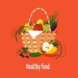 Basket Full of Fresh Fruit Royalty Free Stock Images