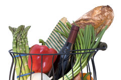 Basket full of fresh products with a wine bottle Stock Photo