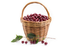 Basket full of fresh red cherry on a white background Stock Photo