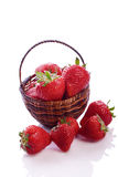 Basket full of fresh red strawberry Stock Photo
