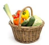 Basket full of fresh vegetables Royalty Free Stock Photos