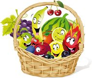 Basket full of fruit character cartoon - vector illustration Stock Images