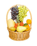 Basket full of fruits isolated on white Stock Images